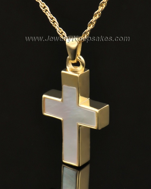 Memorial Keepsake Jewelry Solid 14K Gold Pearly Cross