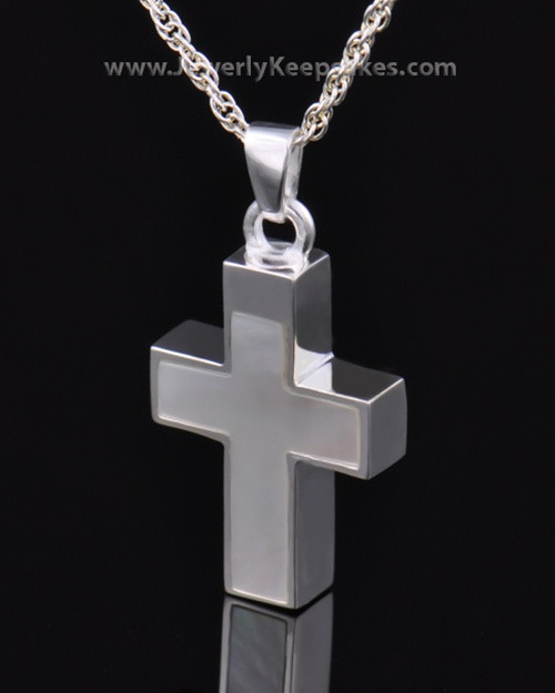 Memorial Keepsake Jewelry Sterling Silver Pearly Cross
