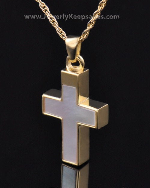 Memorial Keepsake Jewelry Gold Vermeil Pearly Cross