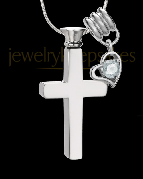 Stainless Cremains Locket April Memorable Cross - Eternity Collection