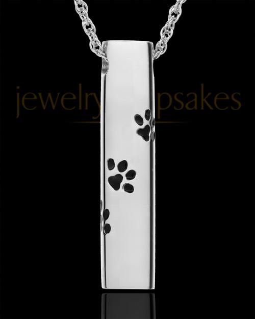 Pet Ash Pendant Sterling Silver Paw Cylinder Keepsake