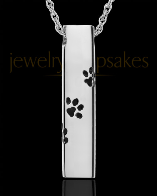 Pet Ash Pendant 14K White Gold Paw Cylinder Keepsake