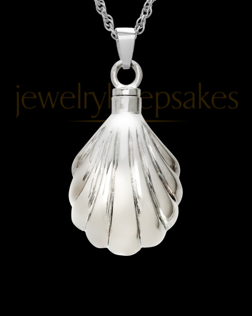 Ash Pendant 14K White Gold Shells
