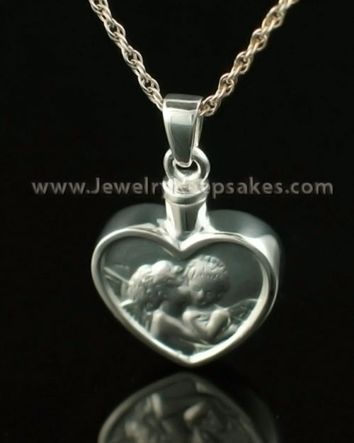 Memorial Pendant Solid 14K White Gold True Love Keepsake