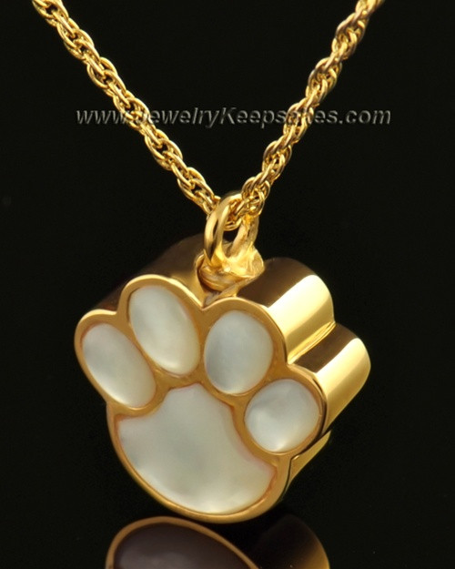 Pet Necklace Urn 14K Gold Pearly Paw Keepsake