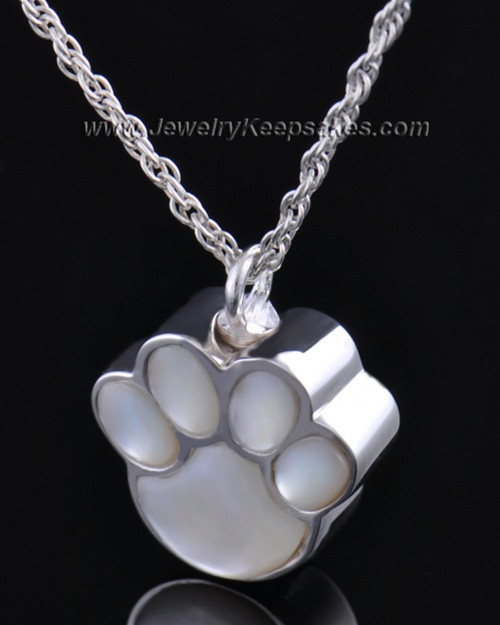 Pet Necklace Urn Sterling Silver Pearly Paw Keepsake