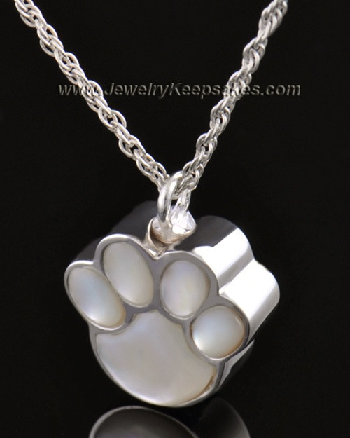 Pet Necklace Urn 14K White Gold Pearly Paw Keepsake