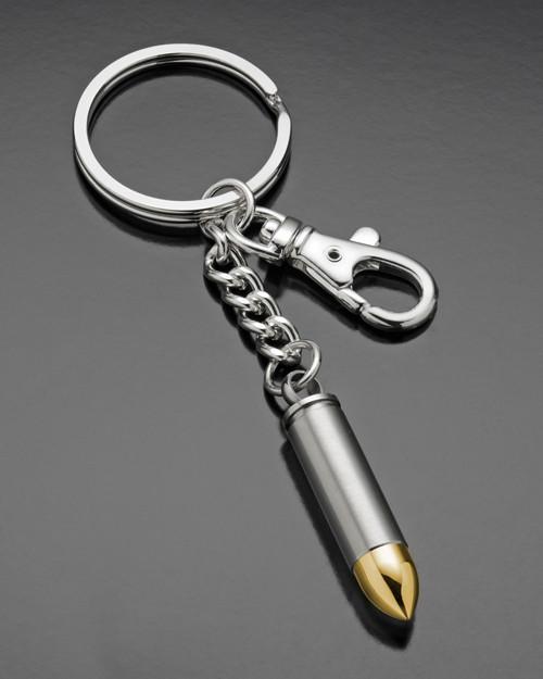 Stainless Steel Golden Tip 357 Magnum Bullet Urn Keychain