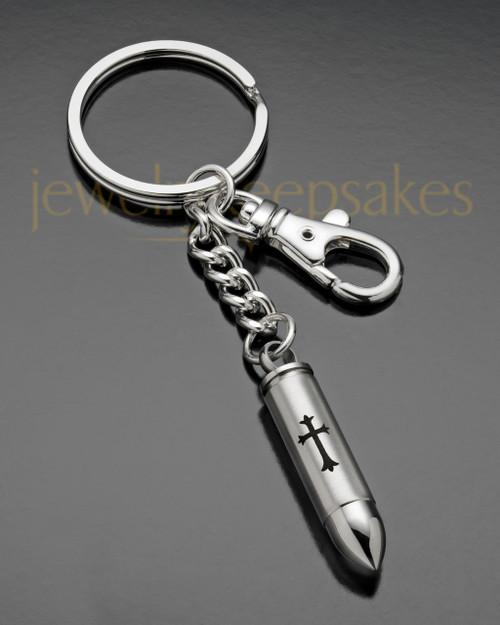 Keepsake Jewelry Stainless Steel Cylinder with Cross Keychain