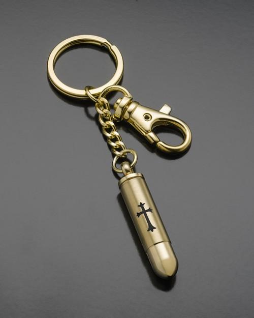 Keepsake Jewelry Gold Plated Cylinder with Cross Keychain