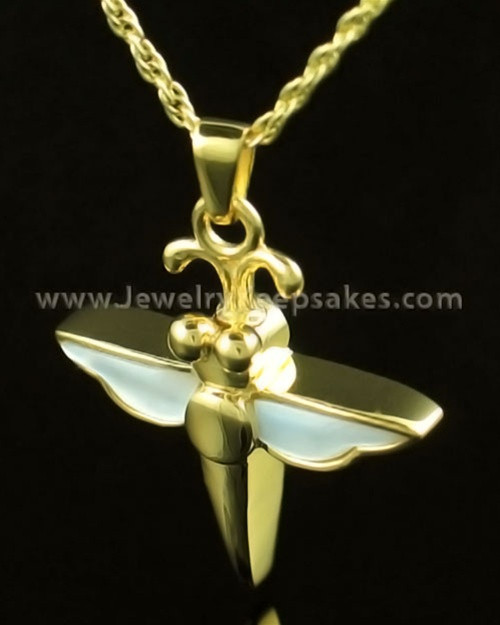 Cremation Necklace 14K Gold Dewy Dragon Keepsake
