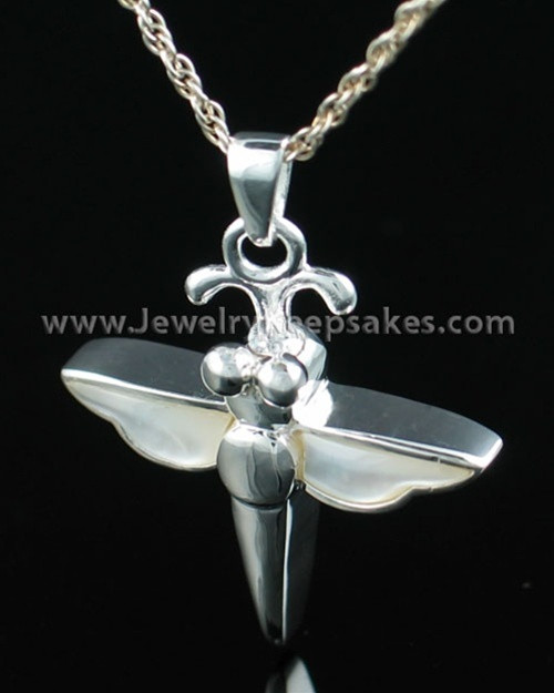 Sterling Silver Cremation Necklace Silver Dewy Dragon Keepsake