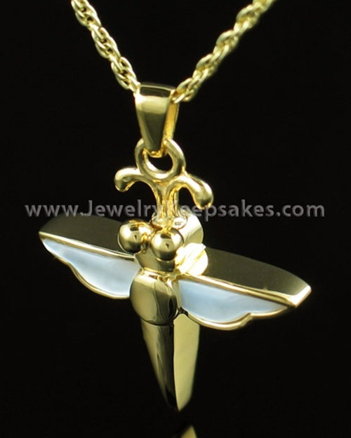 Cremation Necklace Gold Vermeil Dewy Dragon Keepsake