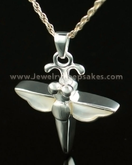 Cremation Necklace 14K White Gold Dewy Dragon Keepsake