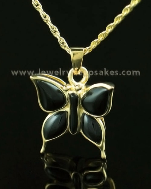 Memorial Necklace 14K Gold Night Butterfly Keepsake