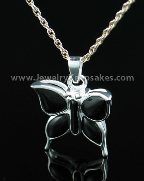 Memorial Necklace Sterling Silver Night Butterfly Keepsake