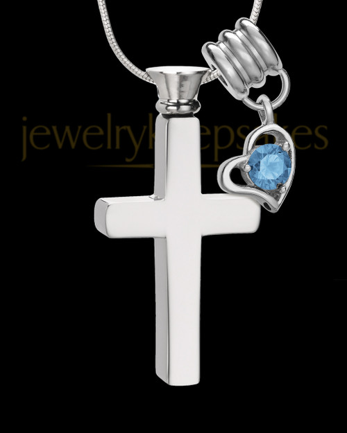 Stainless Cremains Locket December Memorable Cross - Eternity Collection