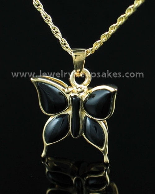 Memorial Necklace Gold Vermeil Night Butterfly Keepsake