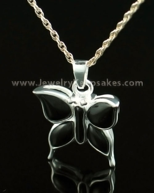 Memorial Necklace 14K White Gold Night Butterfly Keepsake