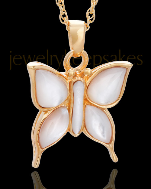 Cremation Charm Gold Vermeil Dewy Butterfly Keepsake