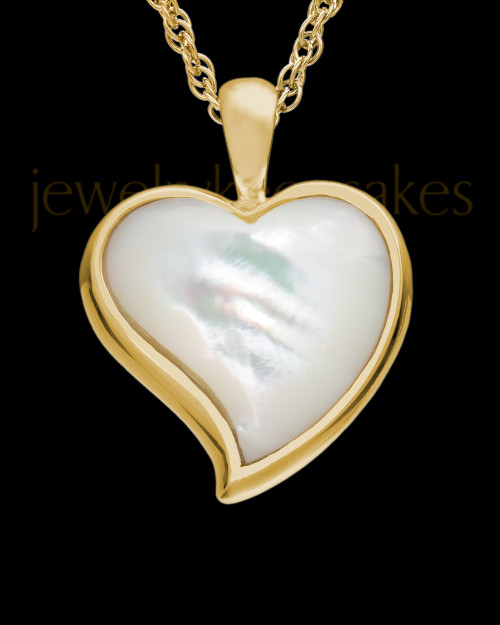 Cremated Remains Jewelry 14K Gold Dewy Heart