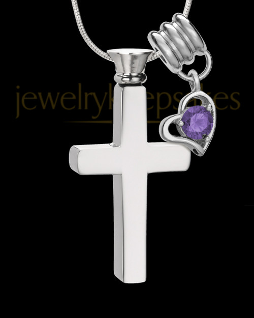 Stainless Cremains Locket February Memorable Cross - Eternity Collection