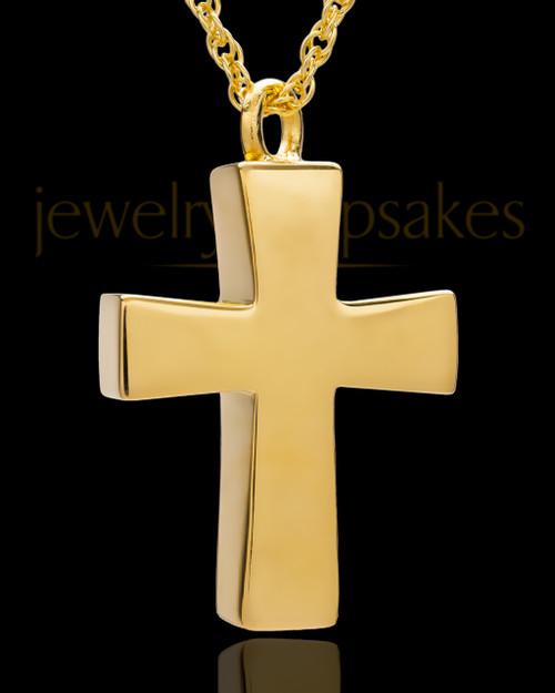 Memorial Locket Gold Vermeil Parchment Cross Keepsake