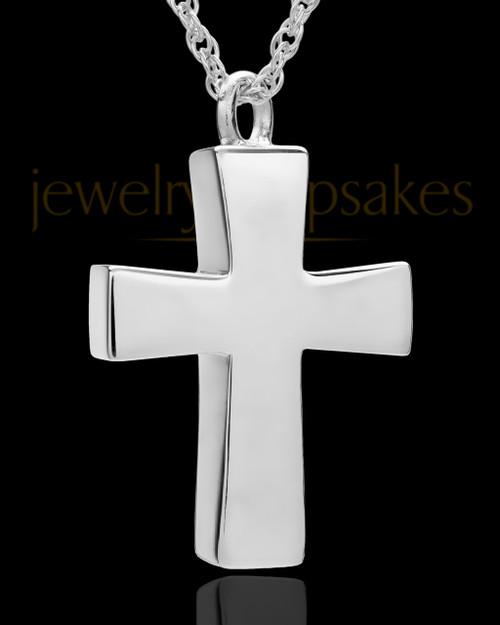 Memorial Locket 14K White Gold Parchment Cross Keepsake