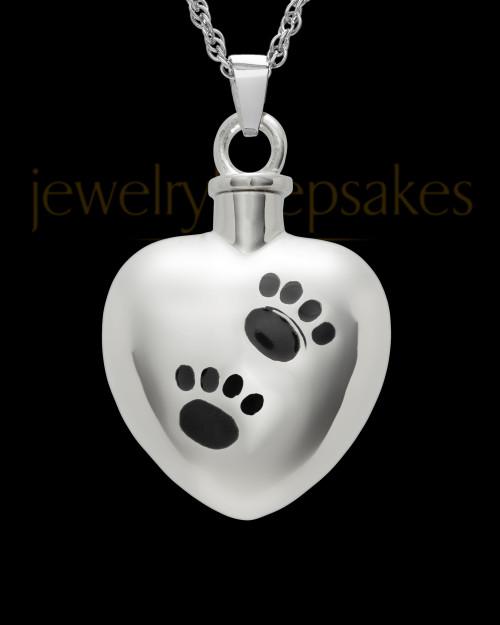 Pet Urn Jewelry Sterling Silver Paws on Heart Keepsake