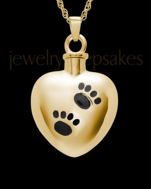 Pet Urn Jewelry Gold Vermeil Paws on Heart Keepsake