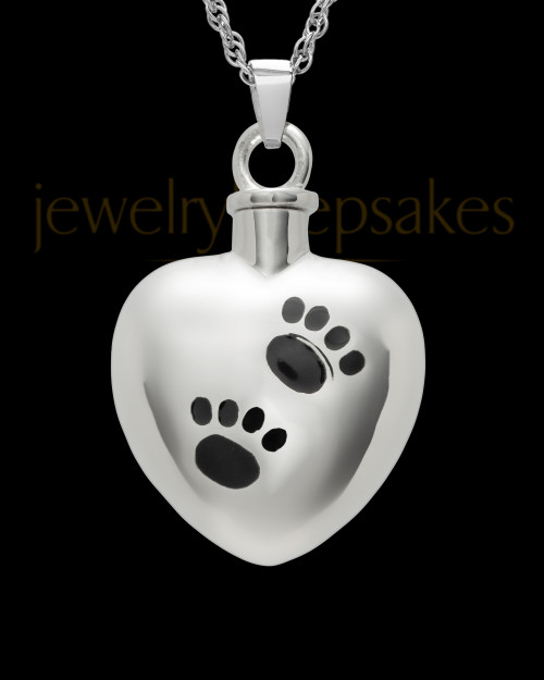 Pet Urn Jewelry 14K White Gold Paws on Heart Keepsake
