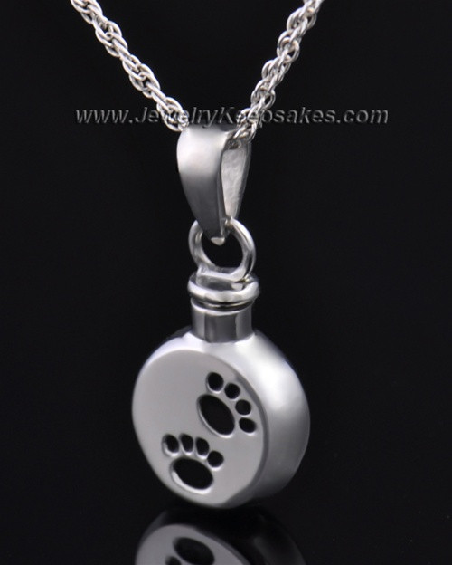 Funeral Pet Jewelry Stainless Steel Paws on Disc Keepsake