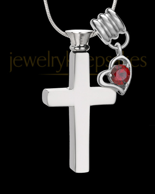 Stainless Cremains Locket January Memorable Cross - Eternity Collection