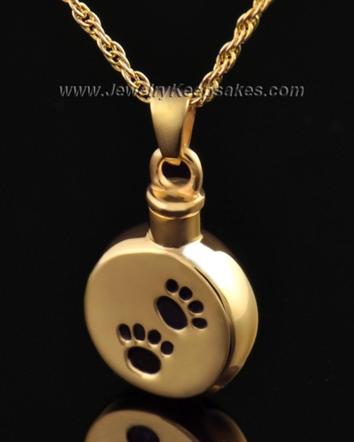 Funeral Pet Jewelry Gold Vermeil Paws on Disc Keepsake