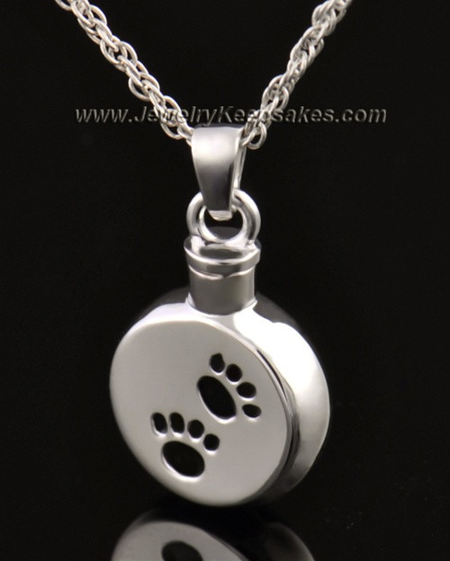 Funeral Pet Jewelry 14 Karat White Gold Paws on Disc Keepsake