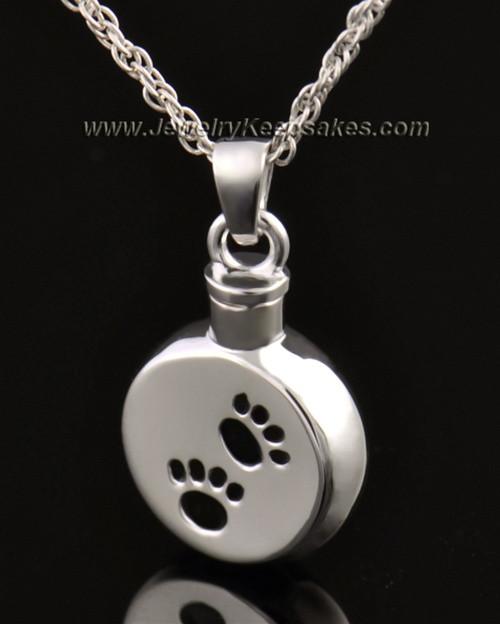 Funeral Pet Jewelry 14 Karat White Gold Paws on Disc Keepsake