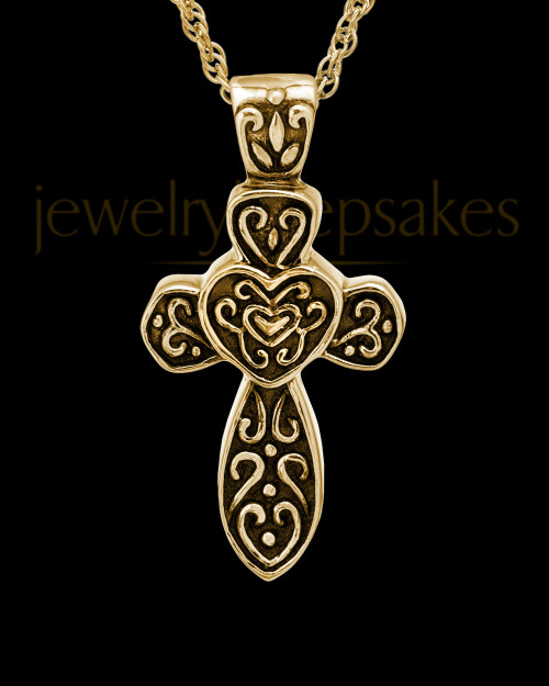 Cremation Pendant Gold Vermeil Cathedral Cross Keepsake