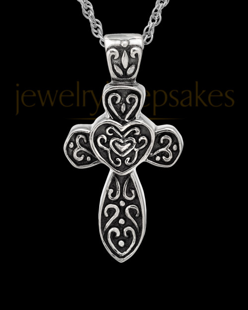 Cremation Pendant 14K White Gold Cathedral Cross Keepsake