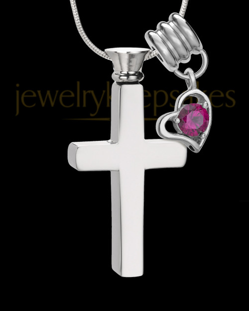 Stainless Cremains Locket July Memorable Cross - Eternity Collection