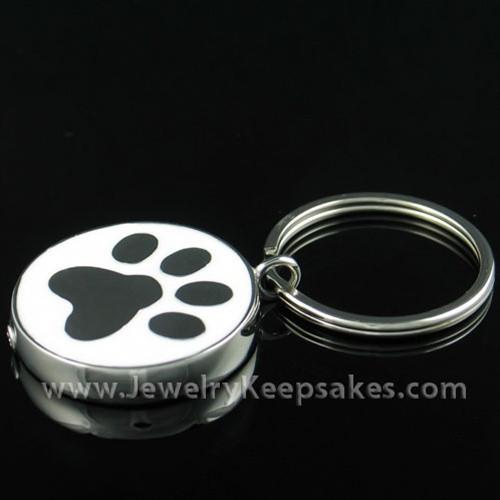 Memorial Pet Locket Stainless Muddy Paw Keychain Keepsake