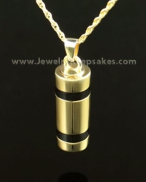 Cremains Pendant 14K Gold Imperial Cylinder Keepsake