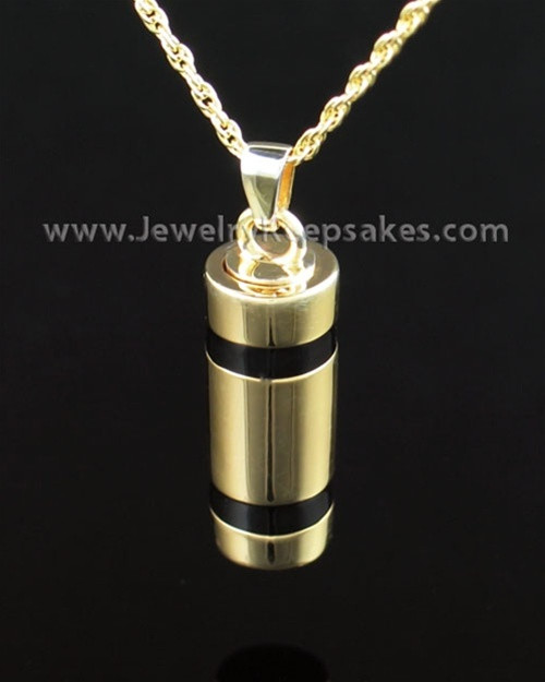 Cremains Pendant 14K Gold Plated Imperial Cylinder Keepsake