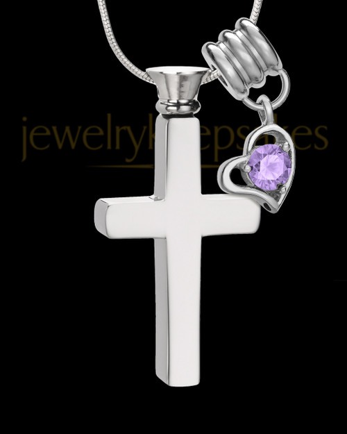 Stainless Cremains Locket June Memorable Cross - Eternity Collection