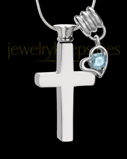 Stainless Cremains Locket March Memorable Cross - Eternity Collection