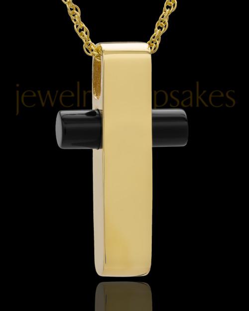 Necklace Urn Gold Plated Barred Cross Keepsake