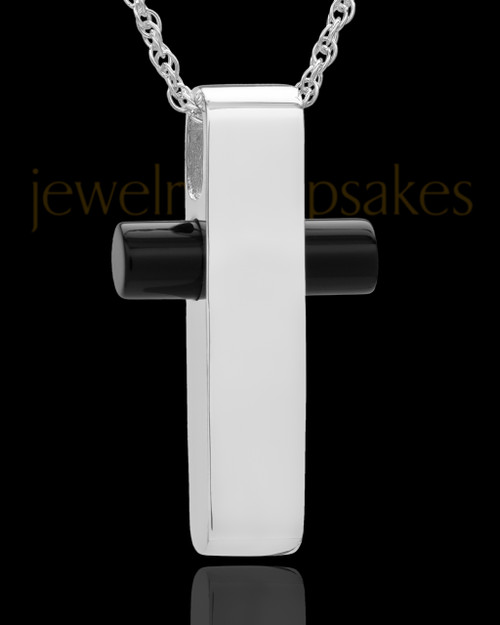 Necklace Urn 14K White Gold Barred Cross Keepsake