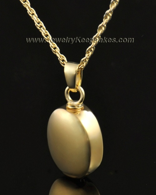 Funeral Jewelry 14K Gold Oblique Keepsake