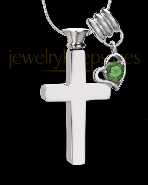 Stainless Cremains Locket May Memorable Cross - Eternity Collection