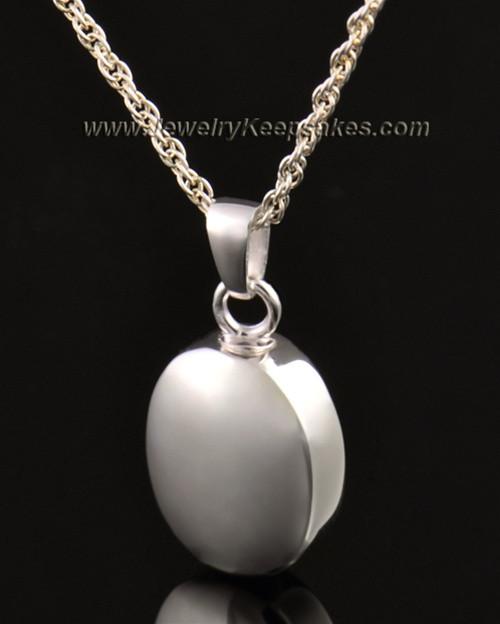 14k White Gold Funeral Jewelry Oblique Keepsake