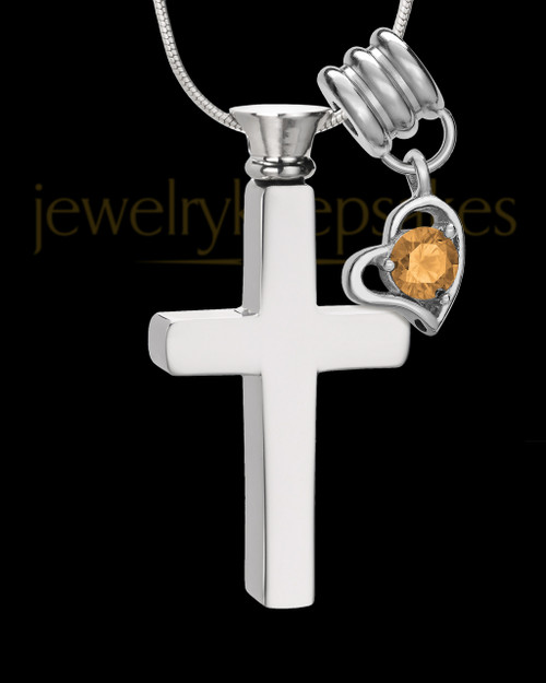 Stainless Cremains Locket November Memorable Cross - Eternity Collection